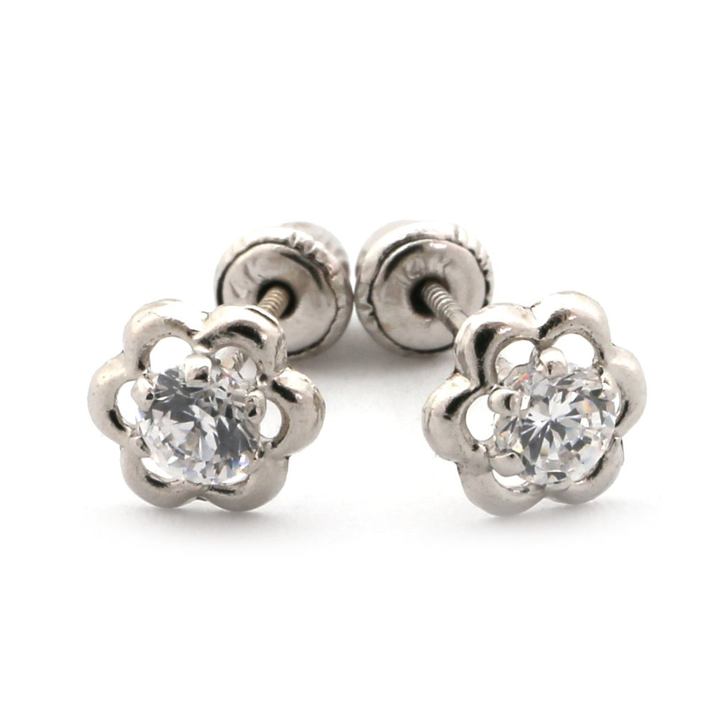14k Yellow or White Gold Open Flower with White CZ Stud Earrings with Child Safe Screwbacks