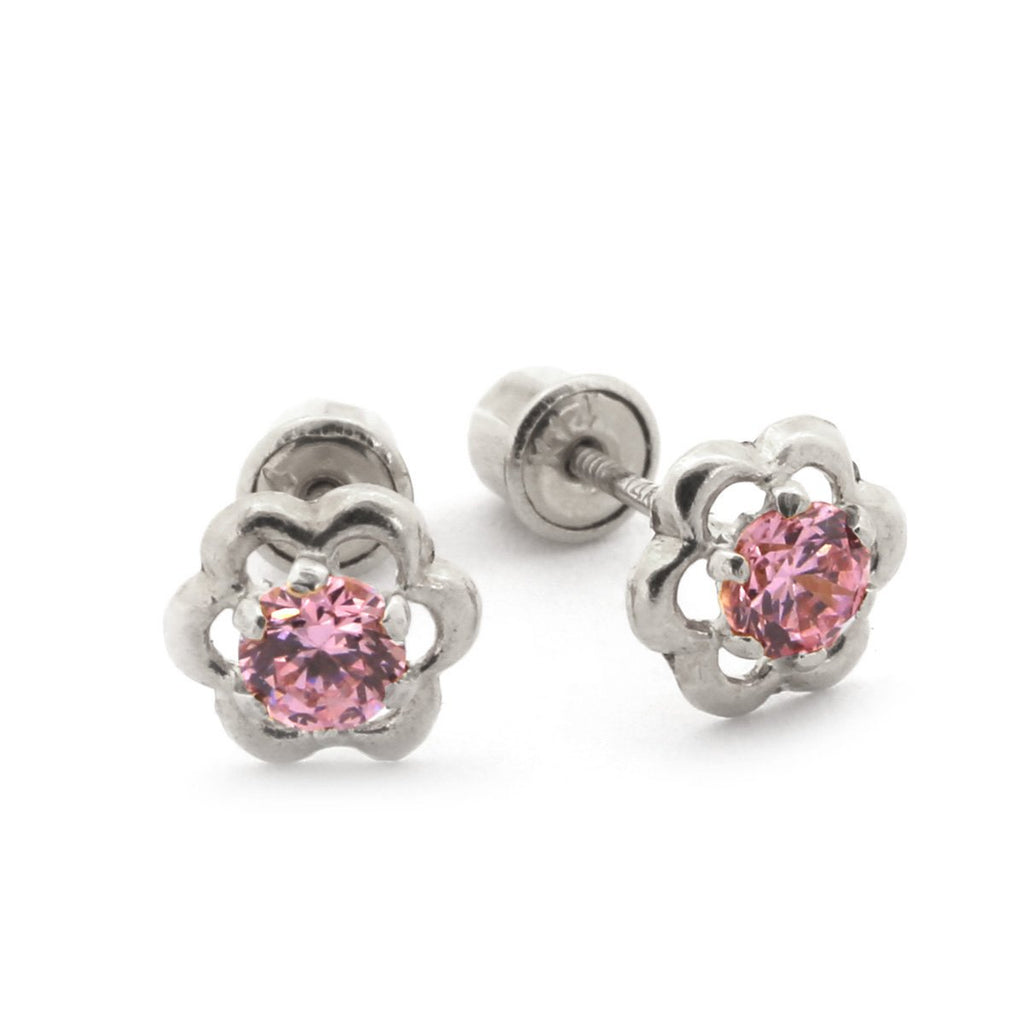 14k White Gold Open Flower with Pink CZ Cubic Zirconia Stone Stud Earrings with Baby Safe Screwbacks