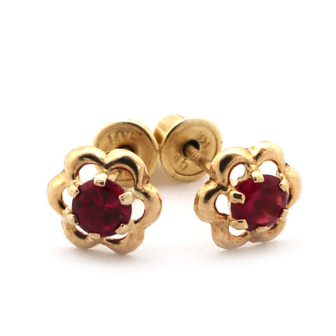 14k White Gold Open Flower with Simulated Ruby Stone Stud Earrings with Child Safe Screwbacks