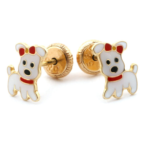 14k Yellow Gold Girls' White Enamel Cute Dog Stud Earrings with Screwbacks