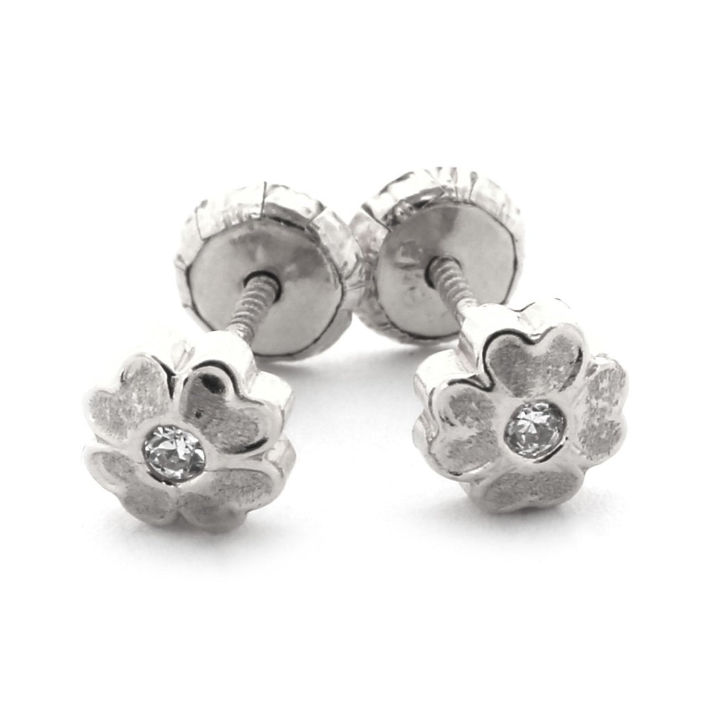 14k Yellow or White Gold CZ Cubic Zirconia Brushed Flower Stud Earrings with Baby Safe Screwbacks