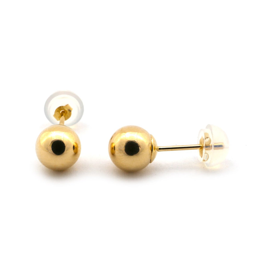 14k Yellow, White or Rose Gold Ball Stud Earrings with Jellybacks - 2, 3, 4, 5, 6, 7, 8, 9, 10, 12mm