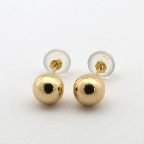 14k Yellow Gold Ball Stud Earrings with Jellybacks - 10mm