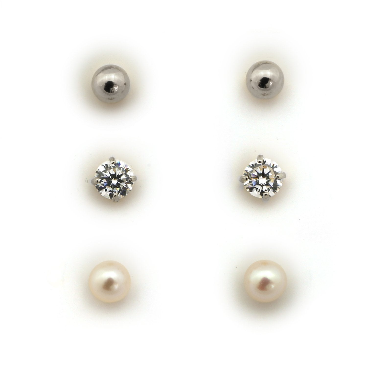 14k Gold 4mm Cubic Zirconia, White Freshwater Cultured Pearl, and Ball Stud Earrings Set