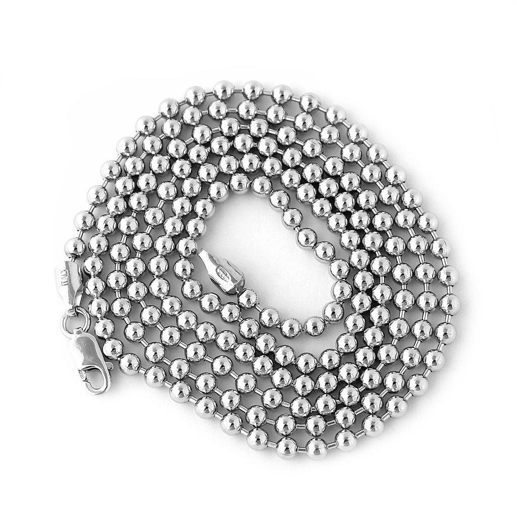 Unisex Solid Sterling Silver Rhodium Plated 3mm Bead Chain Necklace, 30""