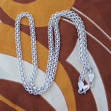 Solid Sterling Silver Rhodium Plated 4mm Bismark Chain Necklace, 16""
