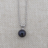 Solid Sterling Silver Rhodium Plated 5mm Dyed Black Freshwater Cultured Pearl Necklace, pendant only