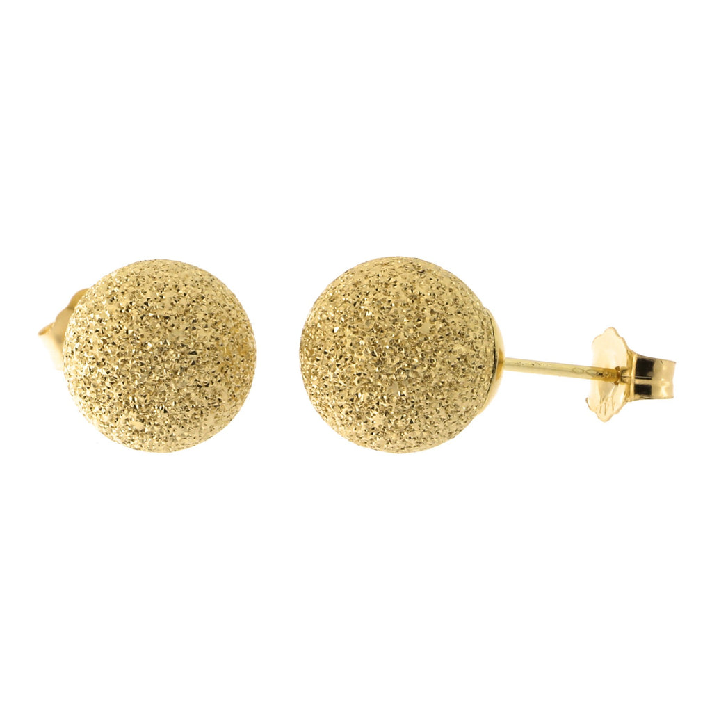 14k Yellow Gold Laser Cut Ball Stud Earrings
