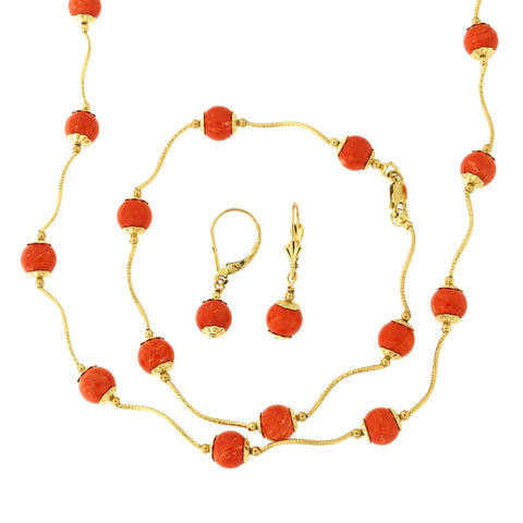 14k Yellow Gold Diamond Cut 7mm Capped Simulated Coral Station Necklace, Earrings and Bracelet Set