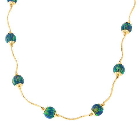 14k Yellow Gold Diamond Cut Capped Simulated Green Opal Station Necklace, 18 inches