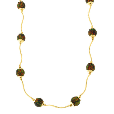 14k Yellow Gold Diamond Cut Capped Simulated Black Opal Station Necklace, 18 inches