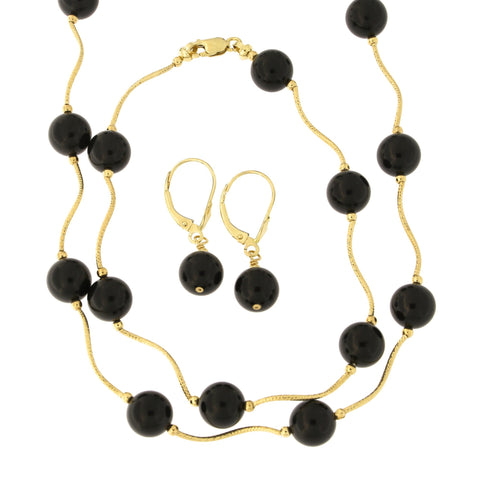 14k Yellow Gold Diamond Cut 8mm Simulated Onyx Station Necklace, Earrings and Bracelet Set