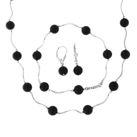 Sterling Silver Rhodium Plated 8mm Simulated Onyx Station Necklace, Earrings and Bracelet Set