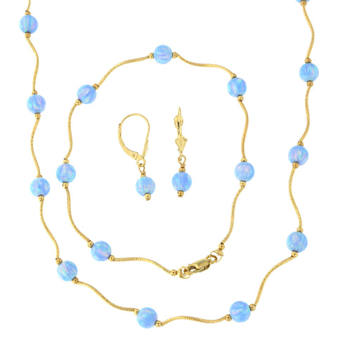 14k Yellow Gold Diamond Cut 6mm Simulated Light Blue Opal Station Necklace, Earrings and Bracelet Set