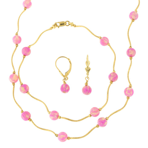 14k Yellow Gold Diamond Cut 6mm Simulated Pink Opal Station Necklace, Earrings and Bracelet Set