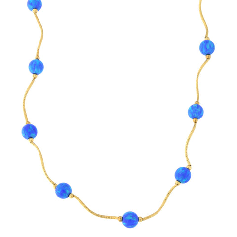14k Yellow Gold Diamond Cut 6mm Simulated Blue Opal Station Necklace, 19 inches