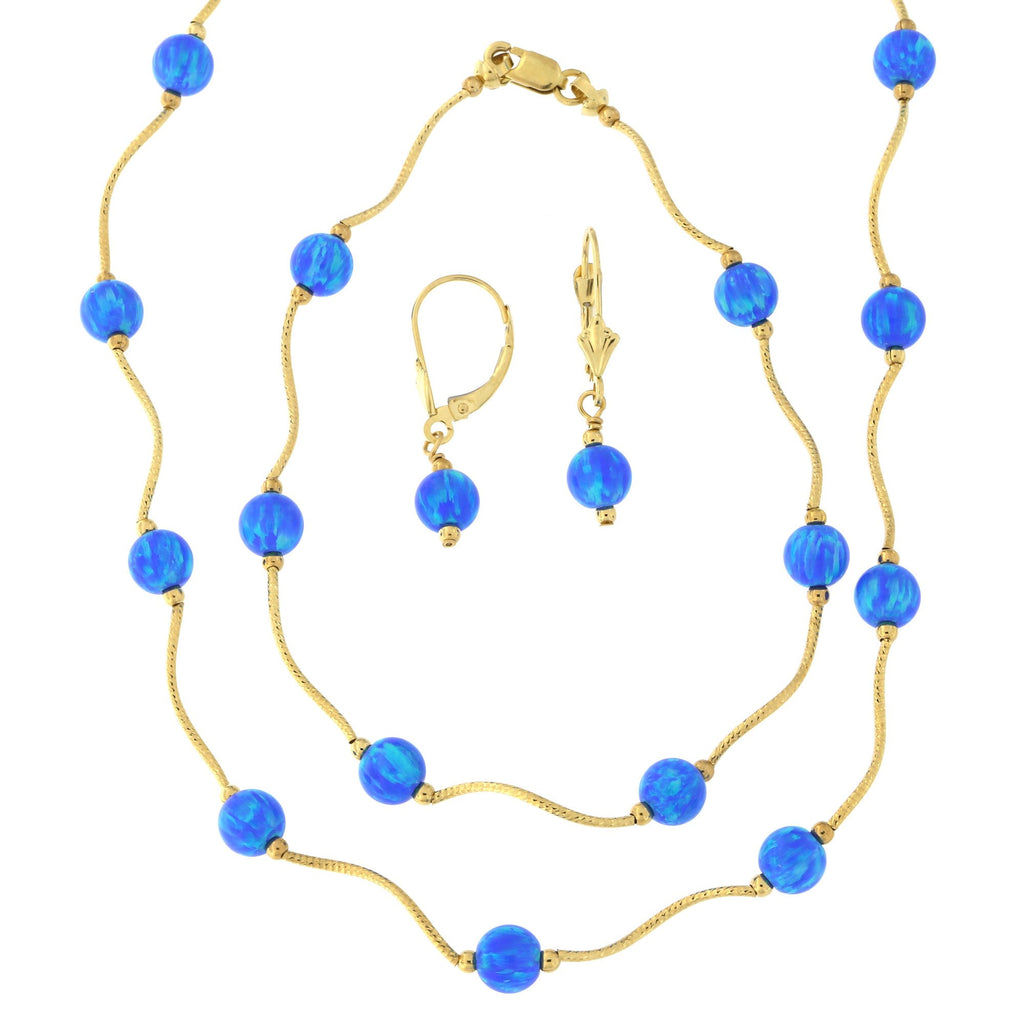 14k Yellow Gold Diamond Cut 6mm Simulated Blue Opal Station Necklace, Earrings and Bracelet Set