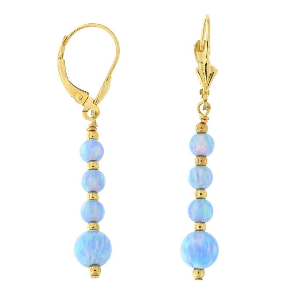 14k Yellow Gold Diamond Cut Graduated Simulated Light Blue Opal Dangle Earrings