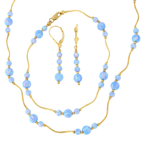 14k Yellow Gold Diamond Cut Graduated Simulated Light Blue Opal Station Necklace, Earrings and Bracelet Set
