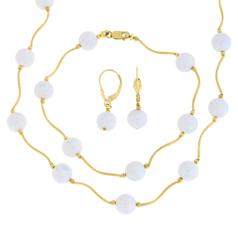 14k Yellow Gold Diamond Cut 8mm Simulated White Opal Station Necklace, Earrings and Bracelet Set