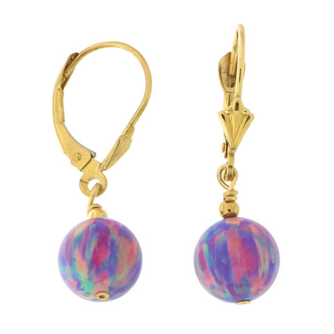 14k Yellow Gold Diamond Cut 8mm Simulated Purple Opal Dangle Earrings