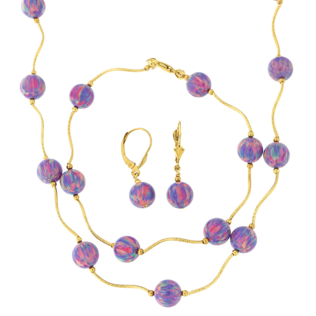 14k Yellow Gold Diamond Cut 8mm Simulated Purple Opal Station Necklace, Earrings and Bracelet Set