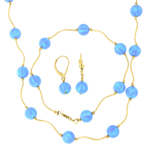 14k Yellow Gold Diamond Cut 8mm Simulated Light Blue Opal Station Necklace, Earrings and Bracelet Set
