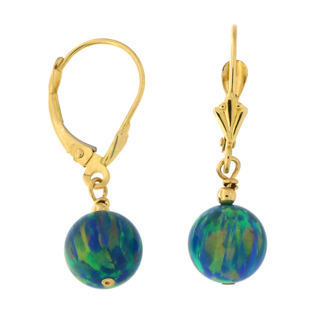 14k Yellow Gold Diamond Cut 8mm Simulated Green Opal Dangle Earrings