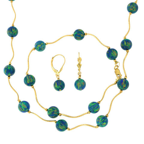 14k Yellow Gold Diamond Cut 8mm Simulated Green Opal Station Necklace, Earrings and Bracelet Set