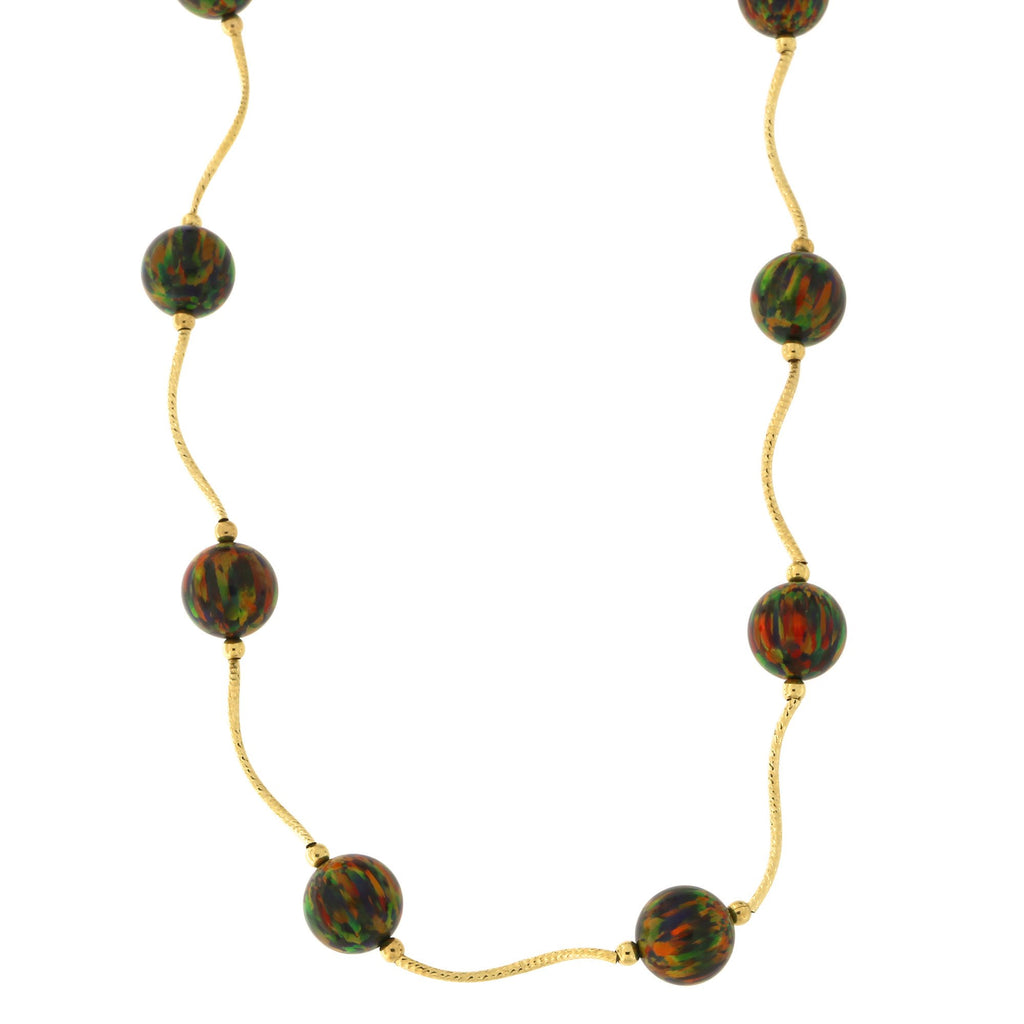 14k Yellow Gold Diamond Cut 8mm Simulated Black Opal Station Necklace, 18.5 inches