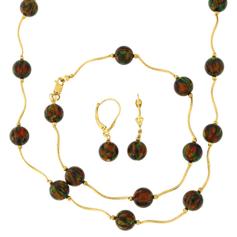 14k Yellow Gold Diamond Cut 8mm Simulated Black Opal Station Necklace, Earrings and Bracelet Set