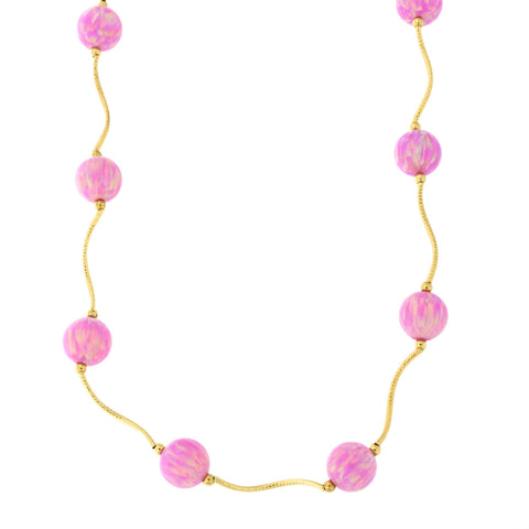 14k Yellow Gold Diamond Cut 8mm Simulated Pink Opal Station Necklace, 18 inches