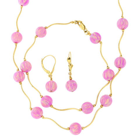 14k Yellow Gold Diamond Cut 8mm Simulated Pink Opal Station Necklace, Earrings and Bracelet Set