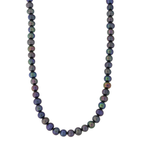 Beauniq 5.0mm-5.5mm Black Freshwater Cultured Pearl Strand with 14k Gold Lock Necklace, 17 inches