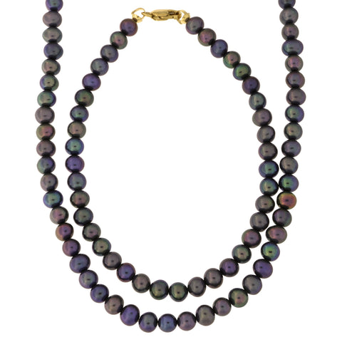 5.0mm-5.5mm Black Freshwater Cultured Pearl Strand with 14k Gold Lock Necklace and Bracelet Set