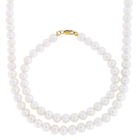 6.5mm-7.0mm Freshwater Cultured Pearl Strand with 14k Gold Lock Necklace and Bracelet Set
