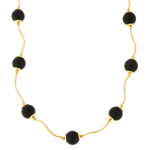 Beauniq 14k Yellow Gold Diamond Cut 7mm Capped Simulated Onyx Station Necklace, 18 inches