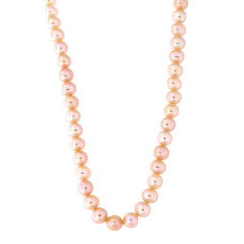 Beauniq 5.5mm-6.5mm Pink Freshwater Cultured Pearl Strand with 14k Gold Lock Necklace, 17 inches