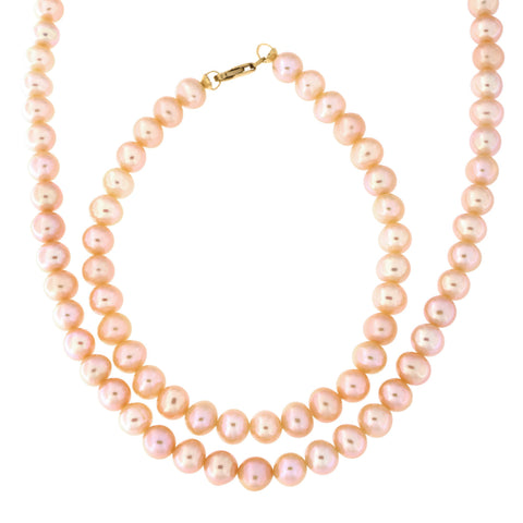 5.5mm-6.5mm Pink Freshwater Cultured Pearl Strand with 14k Gold Lock Necklace and Bracelet Set