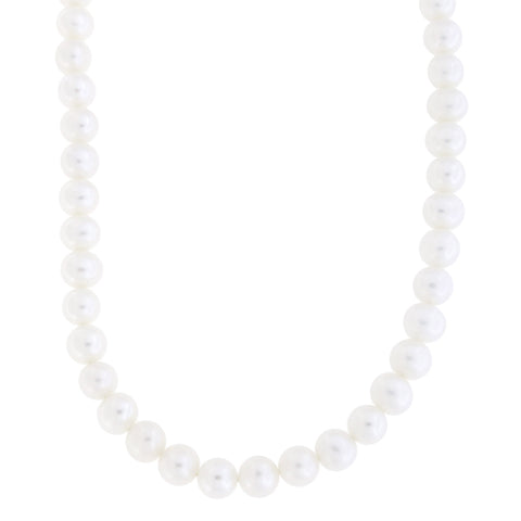 Beauniq 7.0mm-7.5mm Freshwater Cultured Pearl Strand with 14k Gold Lock Necklace, 17 inches