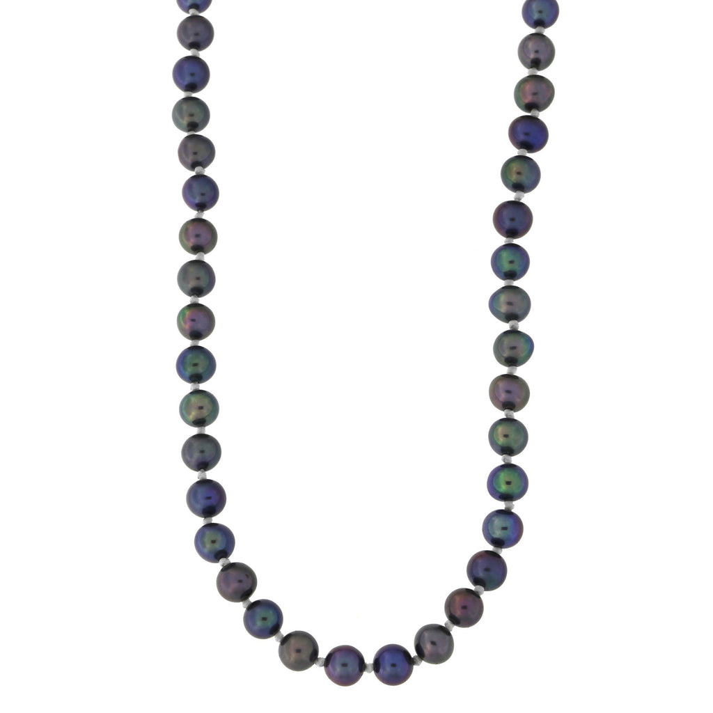 Beauniq 4.5mm-5.0mm Knotted Black Freshwater Cultured Pearl Strand with 14k Gold Lock Necklace, 18 inches