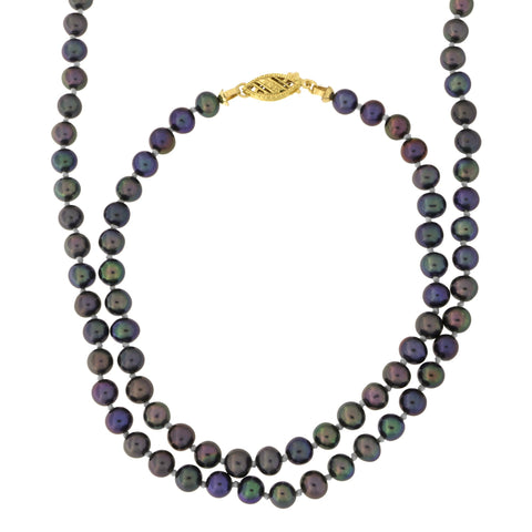 4.5mm-5.0mm Knotted Black Freshwater Cultured Pearl Strand with 14k Gold Lock Necklace and Bracelet Set