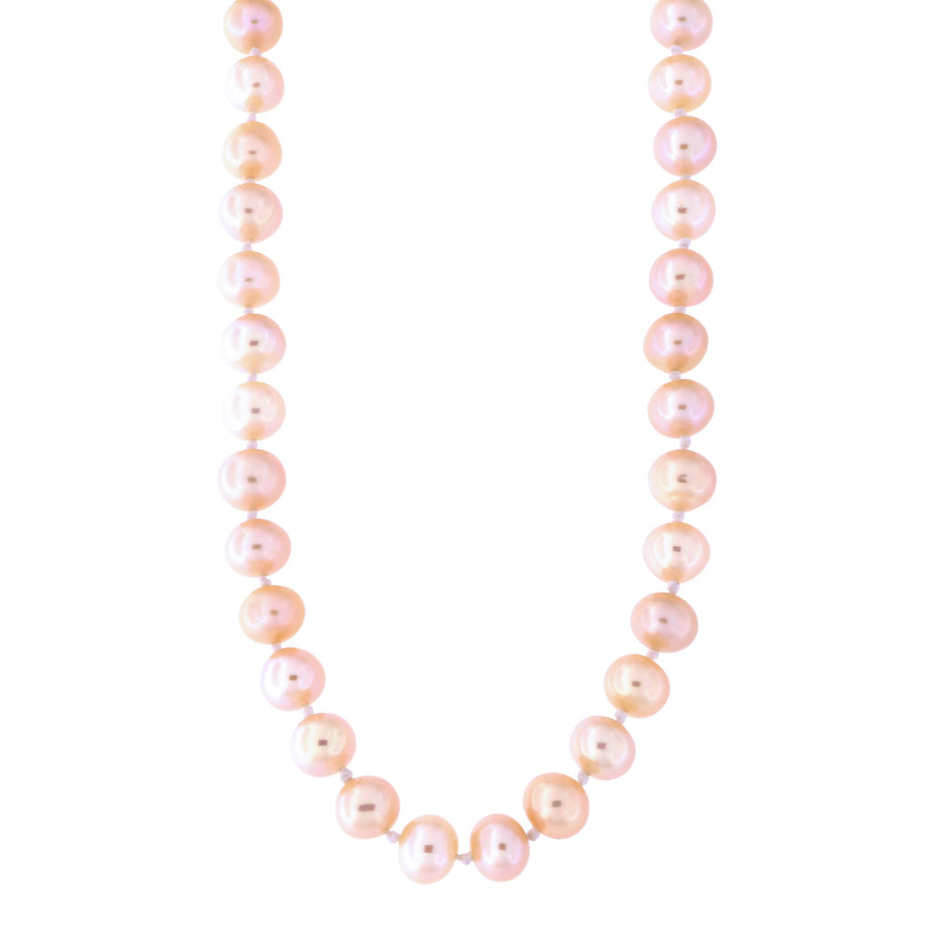 Beauniq 5.5mm-6.5mm Knotted Pink Freshwater Cultured Pearl Strand with 14k Gold Lock Necklace, 18 inches