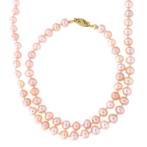 5.5mm-6.5mm Knotted Pink Freshwater Cultured Pearl Strand with 14k Gold Lock Necklace and Bracelet Set