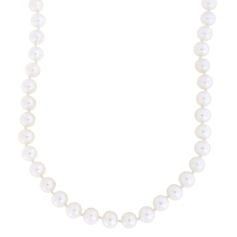 Beauniq 7.0mm-7.5mm Knotted Freshwater Cultured Pearl Strand with 14k Gold Lock Necklace, 19 inches