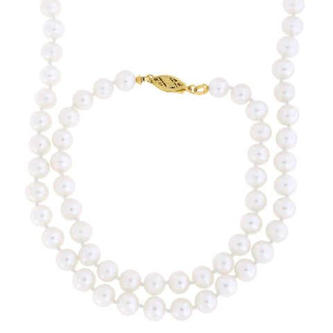 7.0mm-7.5mm Knotted Freshwater Cultured Pearl Strand with 14k Gold Lock Necklace and Bracelet Set