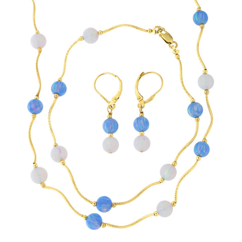 14k Yellow Gold Diamond Cut 6mm Simulated Blue and White Opal Station Necklace, Earrings and Bracelet Set