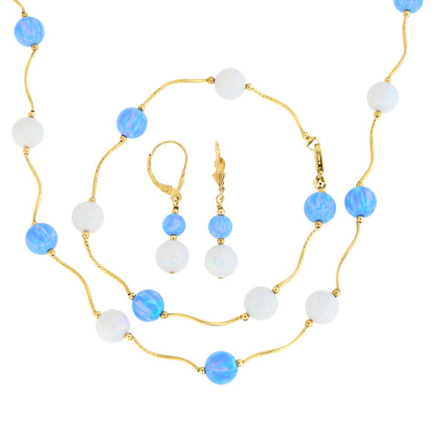 14k Yellow Gold Diamond Cut 8mm Simulated Blue and White Opal Station Necklace, Earrings and Bracelet Set