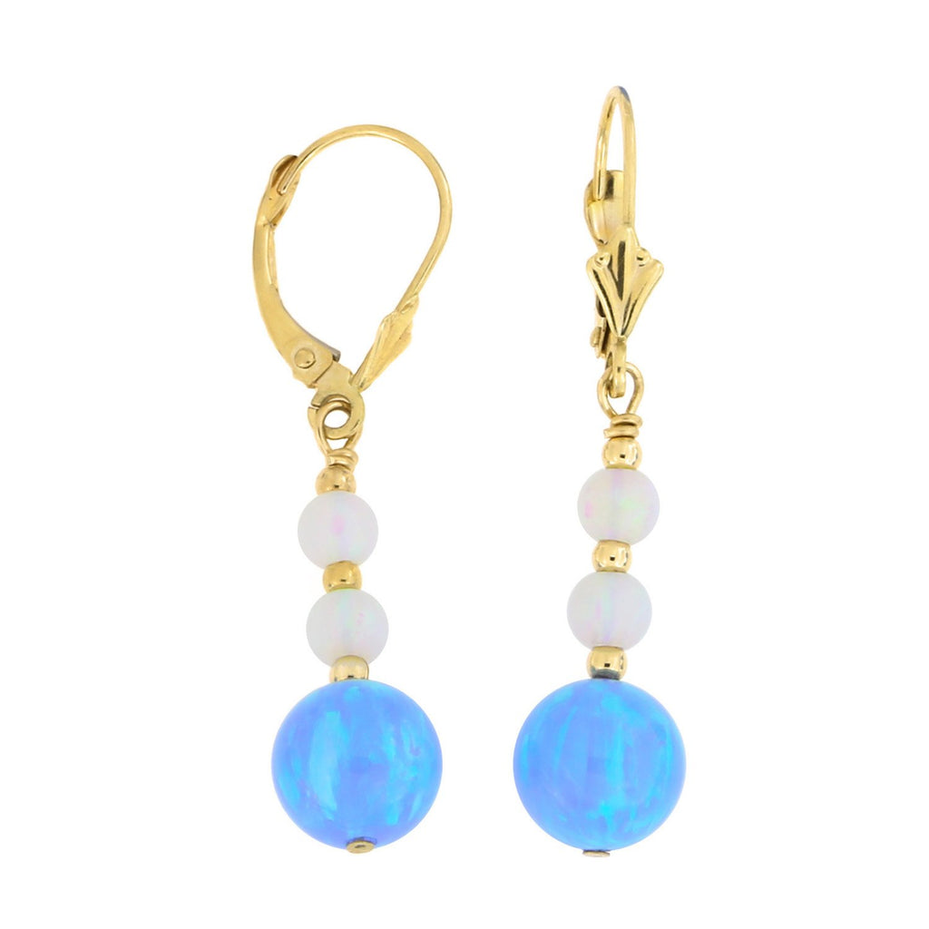 14k Yellow Gold Diamond Cut Graduated Simulated Blue and White Opal Dangle Earrings