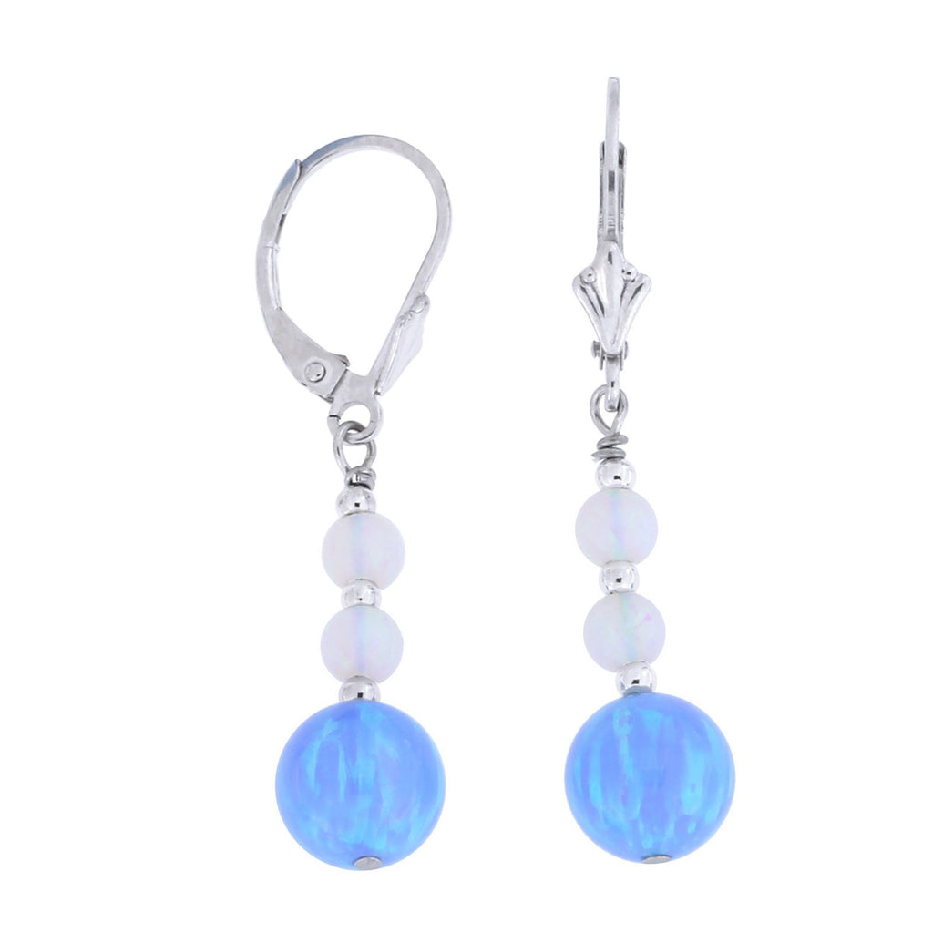 Sterling Silver Rhodium Plated Graduated Simulated Blue and White Opal Dangle Earrings